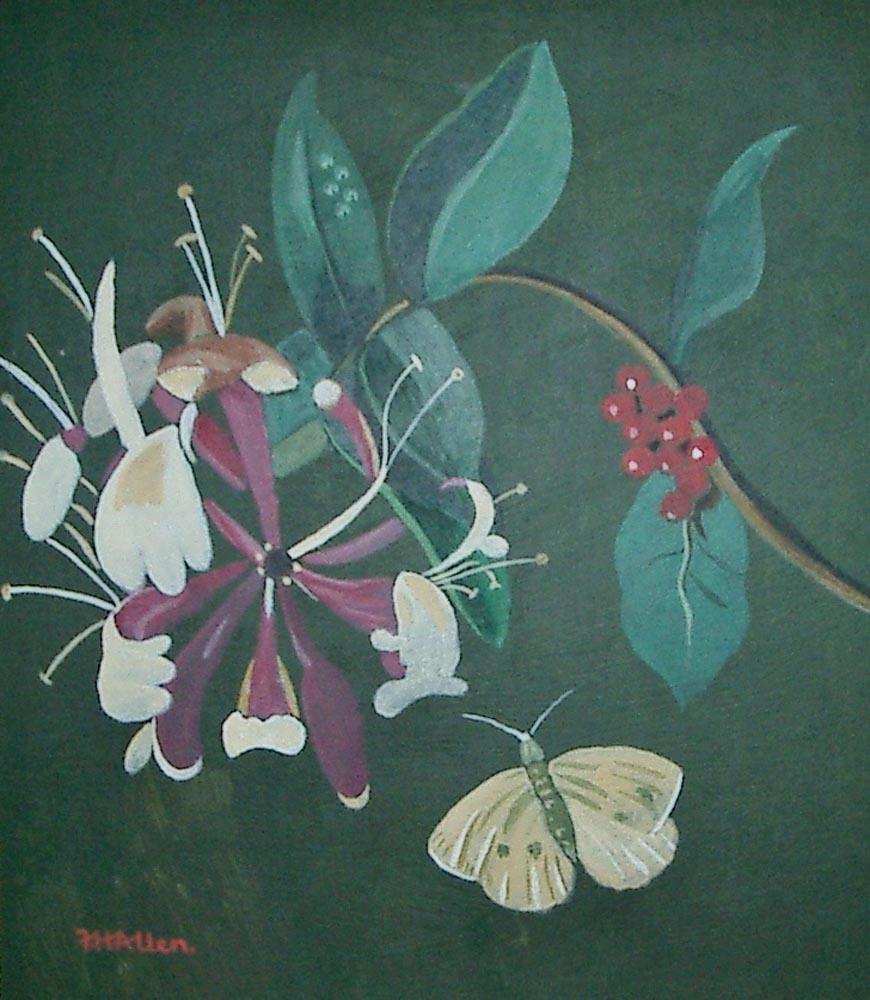 honeysuckle and butterfly.  Acrylic on board 35x39cm