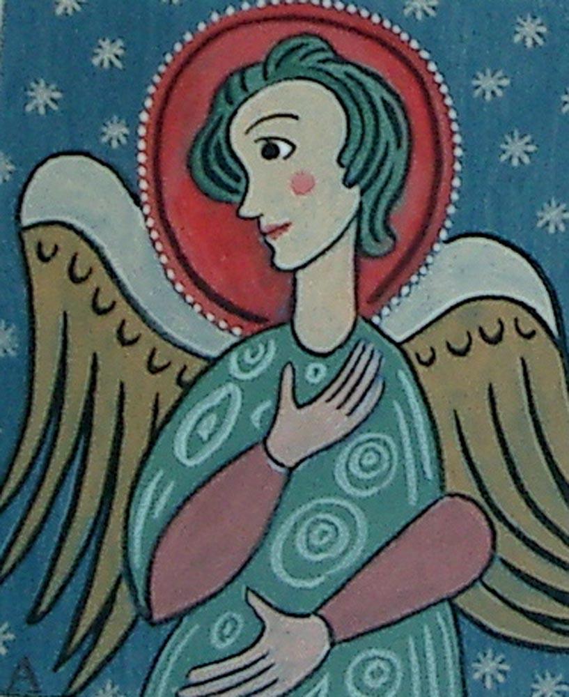 little angel.  gouache on poster 17x15cm