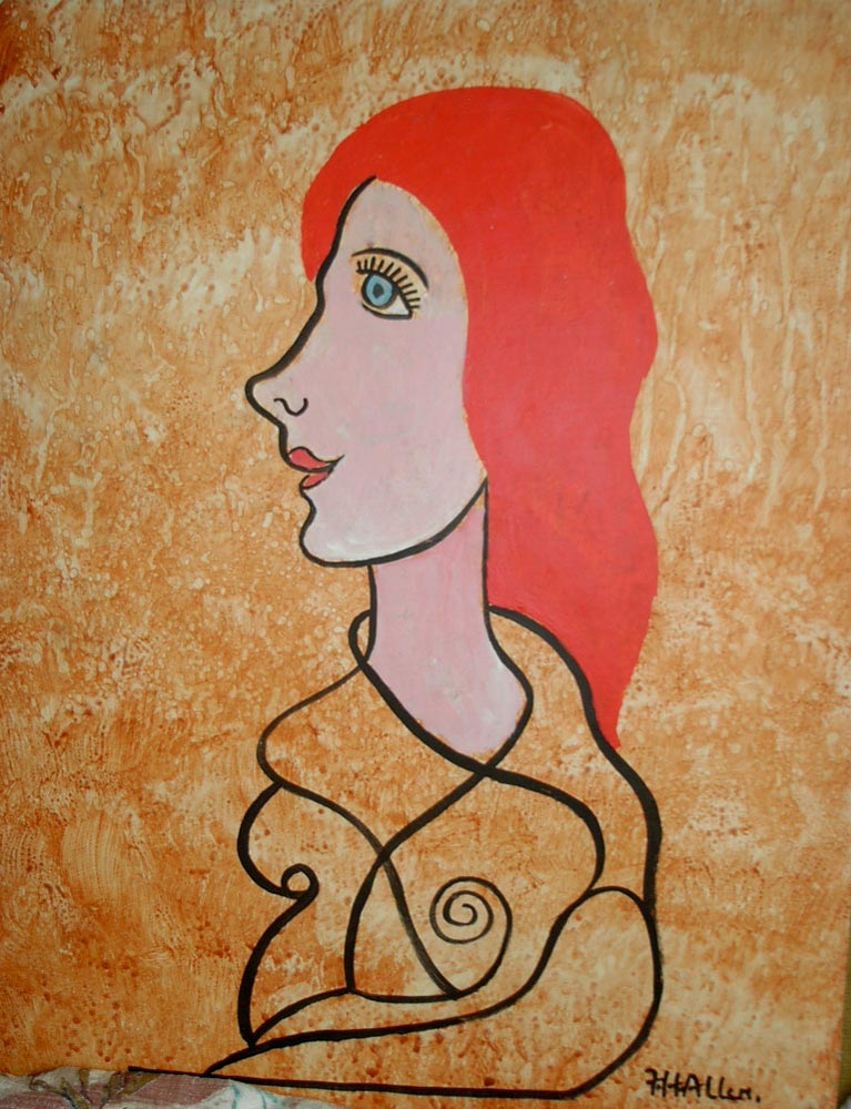 red head.  acrylic on board 40.5x30.5cm