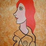 red head.  acrylic on board 40.5x30.5cm
