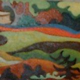 rolling landscape.  oil on board 10x18cm