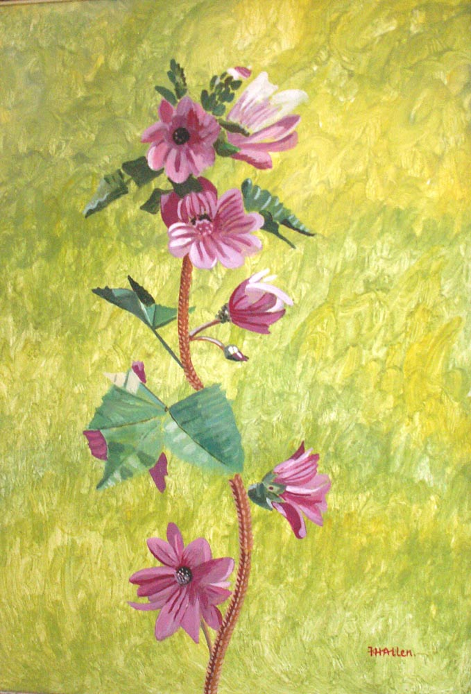 stem with pink flowers.  Acrylic on board 57x38cm