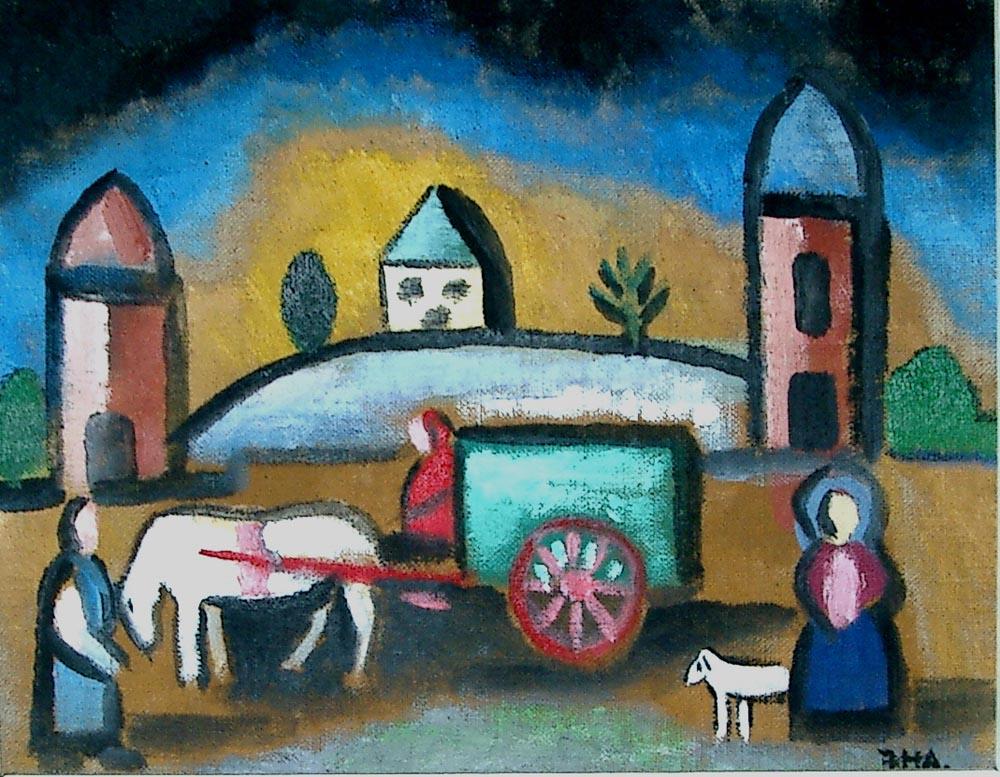 the caravan.  Acrylic on canvas 20x25.5cm