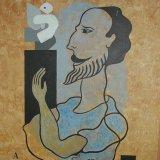 the sculptor.  acrylic on board 50x40cm