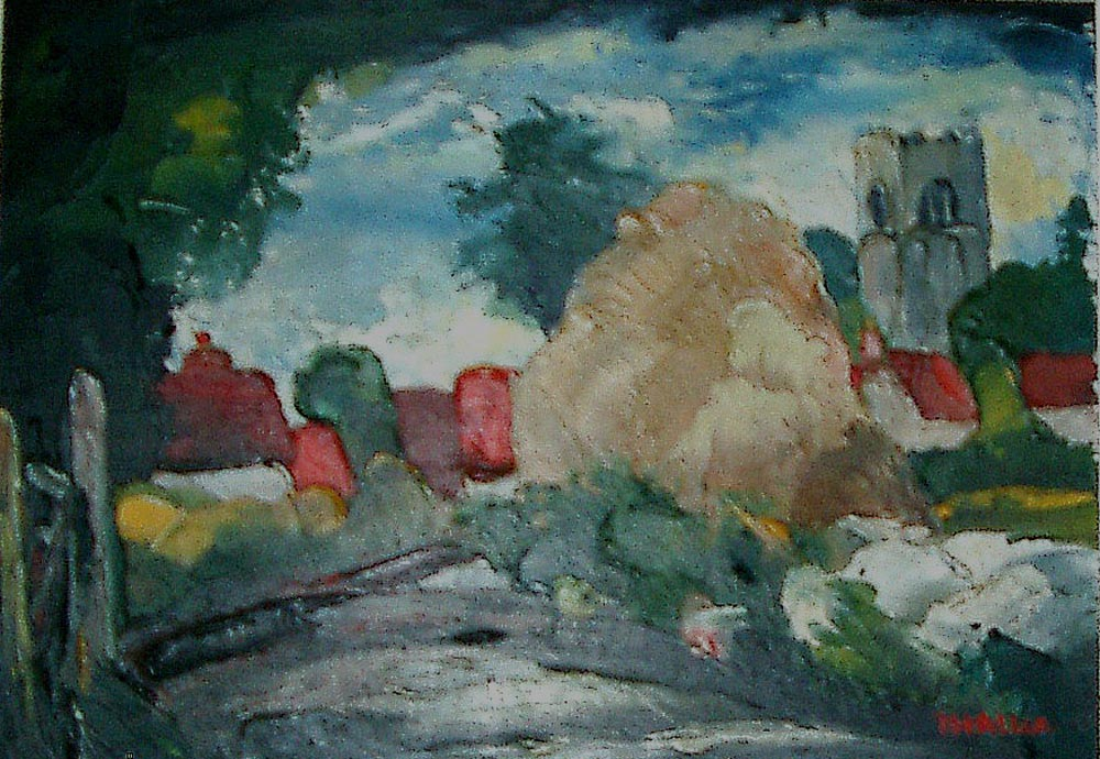 weybourne village.  oil on board 9x26cm