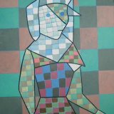 woman in native dress.  acrylic on poster 28x44cm