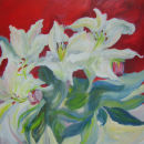 White lilies on red