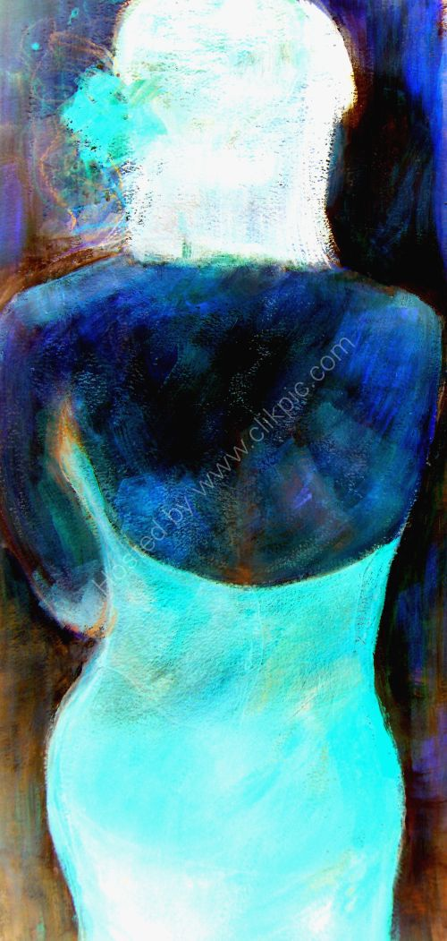 Girl,Cropped back view, blue