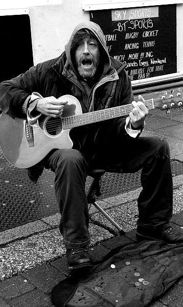 street musician in Hastings