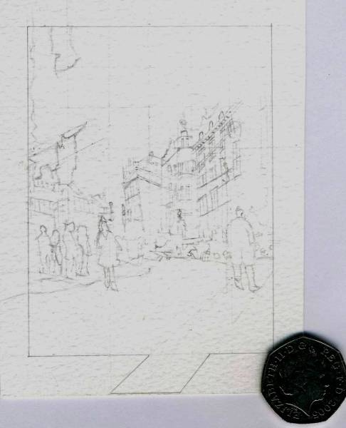 Miniature Drawing of Street Scene
