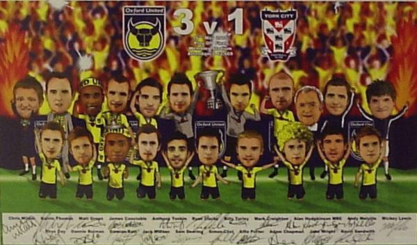 Signed Cartoon of Oxford Football Club Team 2010
