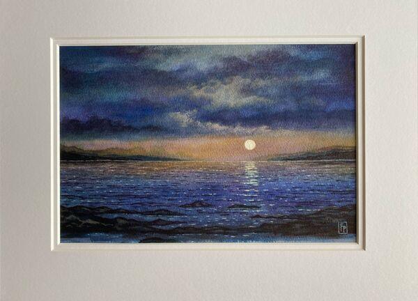 'MOONSET' Original Watercolour Painting