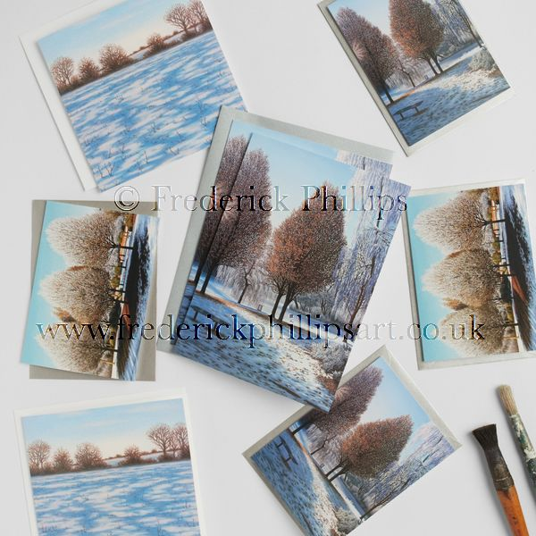 Set of 8 local Winter Greetings Cards in gift bag