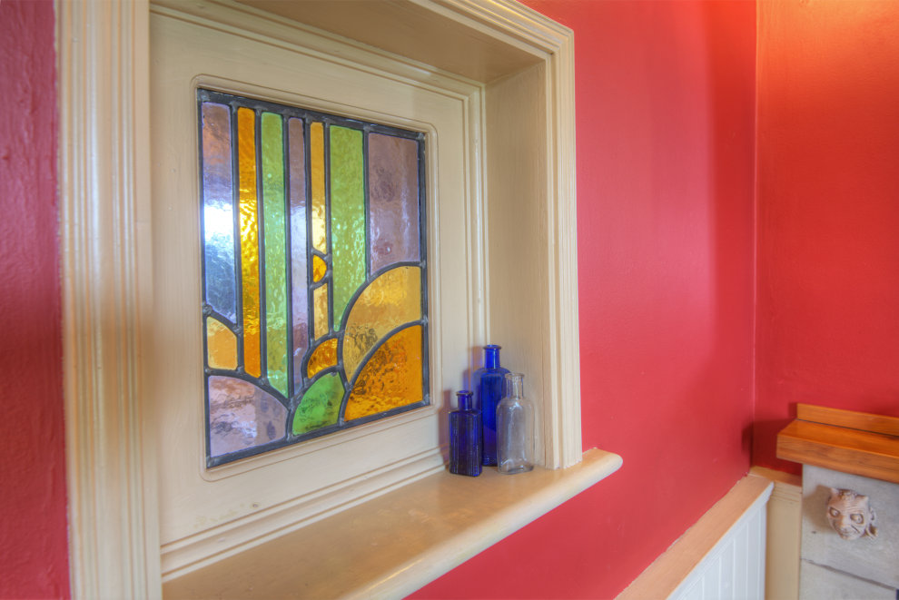 Stained glass window in living room