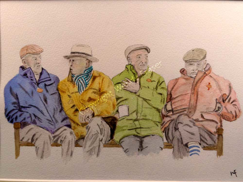 At The Races. Drawing of characters sitting on a bench.
