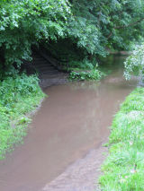 River Almond in Flood at Salveson Steps