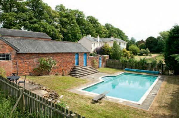 Swimming pool open in summer