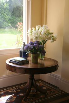 flowers on hall table