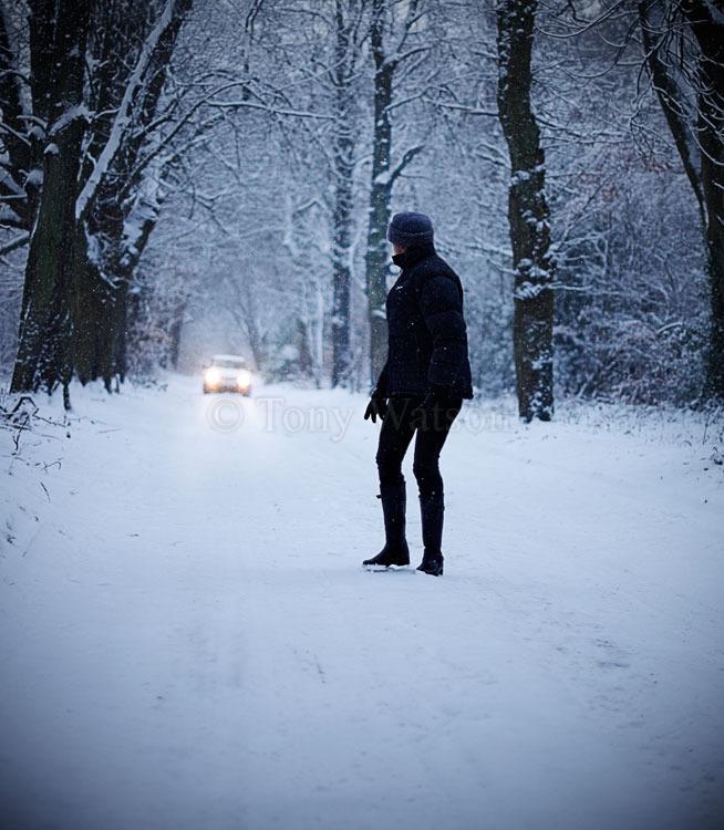 Stalker in snow