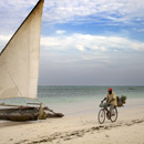 Dhow and pineapple seller