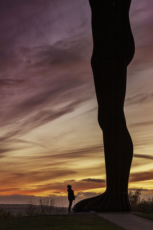 The Angel of the North at Sunset.