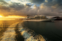 Seabourn Sojourn anchored at sunrise.