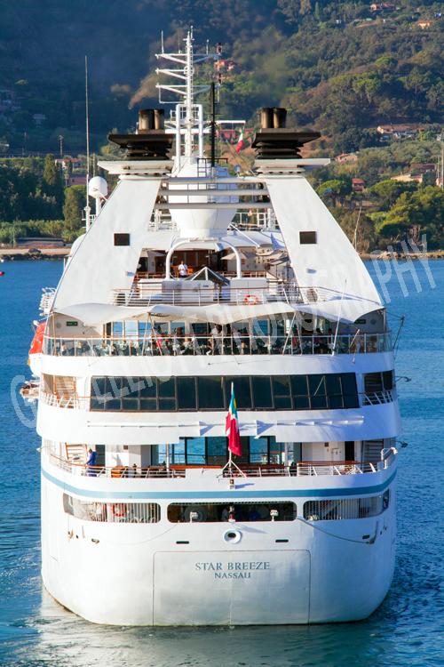 Star Breeze cruising into Portoferraio, Elba.
