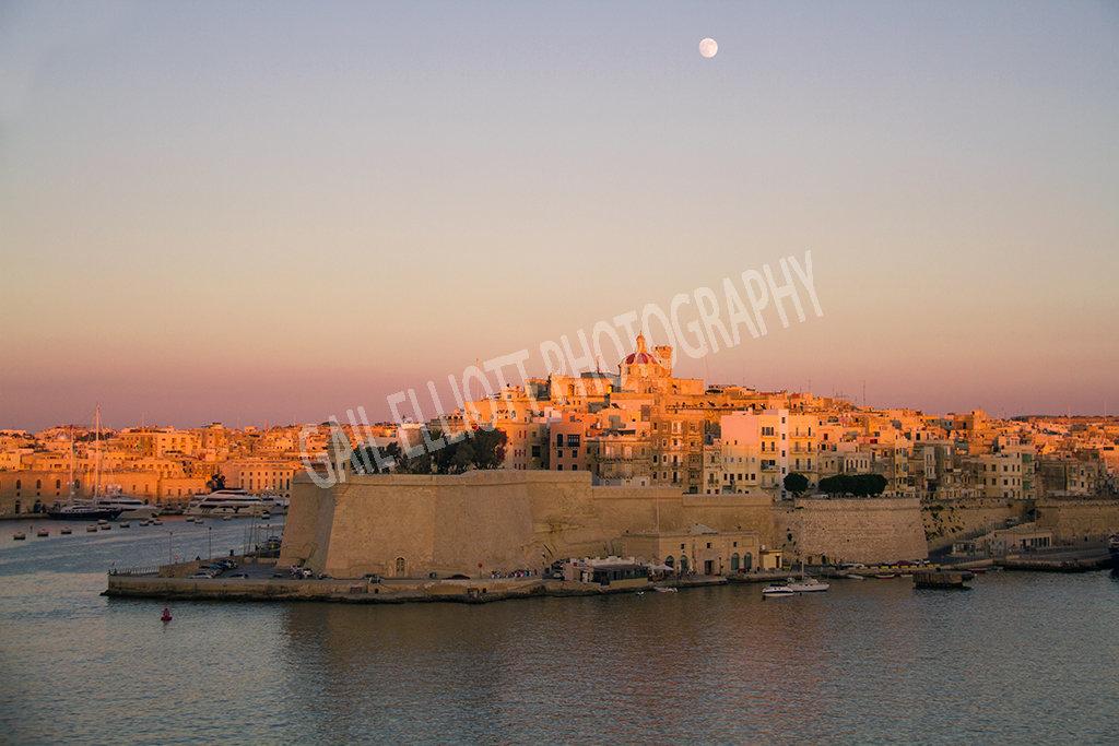 Sunset over Grand Harbour, Valletta.