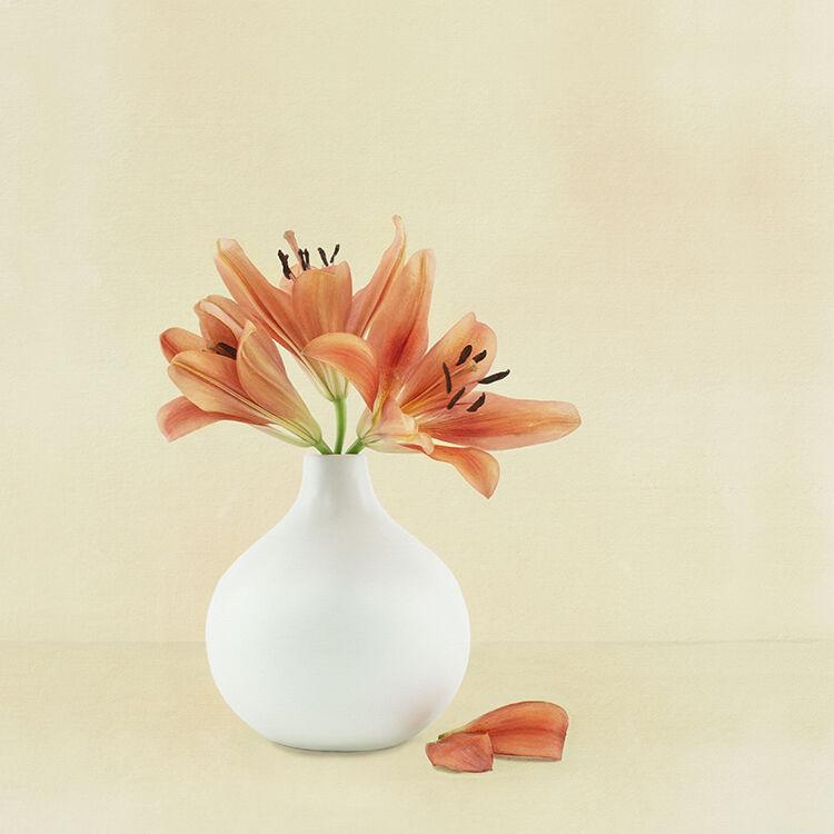 Orange Lillies in white Vase 3 - Copy