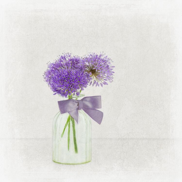 Purple Alium in Glass Vase with Purple Ribbon