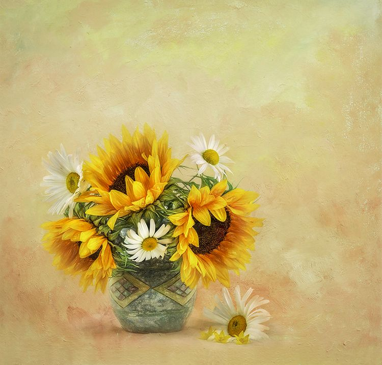 Sunflowers and Daisies in Blue Vase