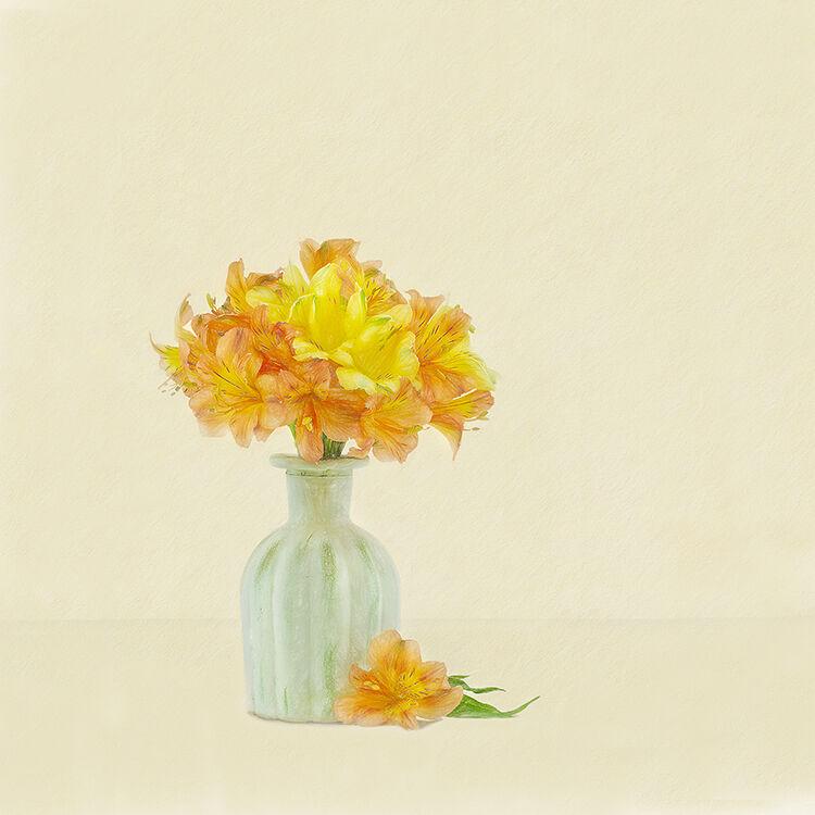 Yellow and Orange Atromeria in cream Vase 2