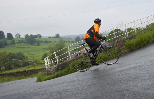 Paul flying up the hill out of Slaidburn