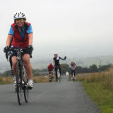 Lesley loving those hills!
