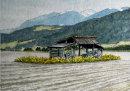 Barn in field, Reischach 28cm x 20 cm