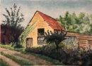 Bodicote barn pastel 24.5x34cms