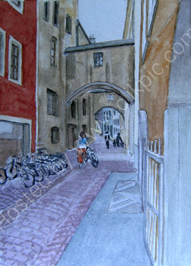 Bruneck Altstadt strasse (with cyclist) 28cm x 20cm