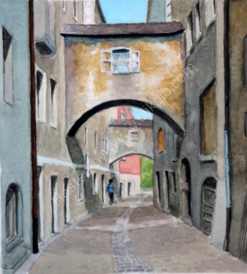 Altstadt street in Bruneck 20cm x 22cm