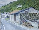 Village farm in Burgeis and Marienberg Monastery Oil on canvas 50cm x 40cm