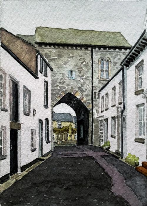 Cartmel Priory GatehouseCumbria rear view 28x20cms