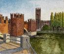 Ponte Scaligero, Castelvecchio, Verona 20x28cms