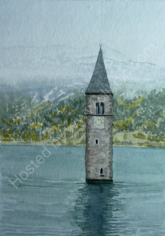 Graun church tower, Reschensee 20 cm x 28 cm