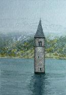 Graun church tower, Reschensee 20 cm x 28 cm
