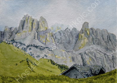 Ruined barn in the Dolomites 26cm x 36cm
