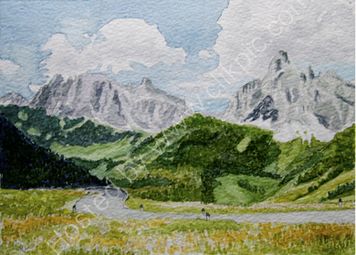 Mountain road in the Dolomites 28cm x 20cm