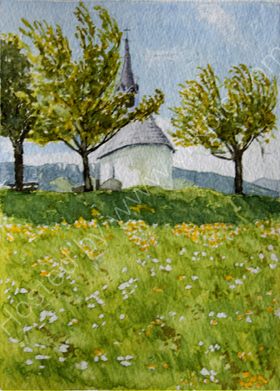 Another rear view of the field chapel in Reischarch 20cm x 28cm