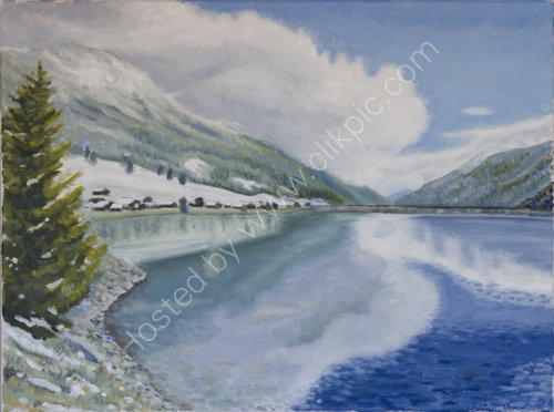 First snow at Vernagt Stausee Oil on canvas 50cm x 40cm