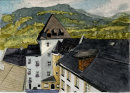 From museum roof, Kitzbuhel 20x28cms