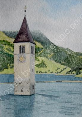 Graun tower on Reschensee 28cm x 20cm
