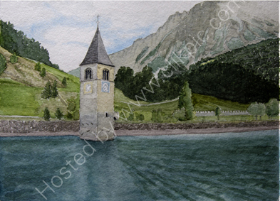 Graun church tower from the See 26cm x 36cm